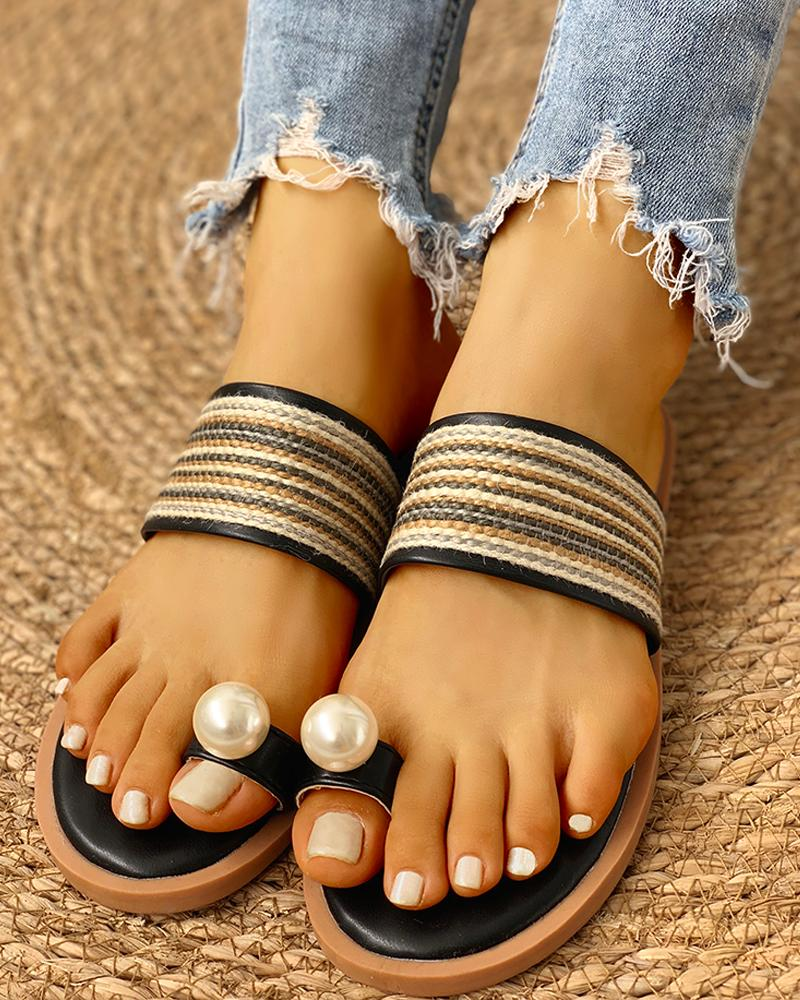 Toe Ring Faux Pearl Casual Sandals