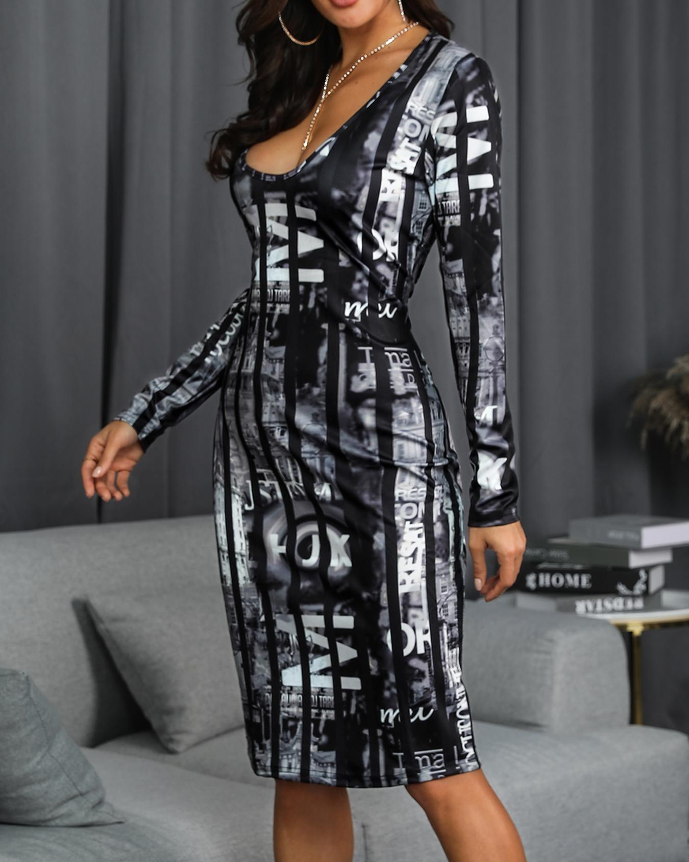 Low Cut Print Long Sleeve Bodycon Dress