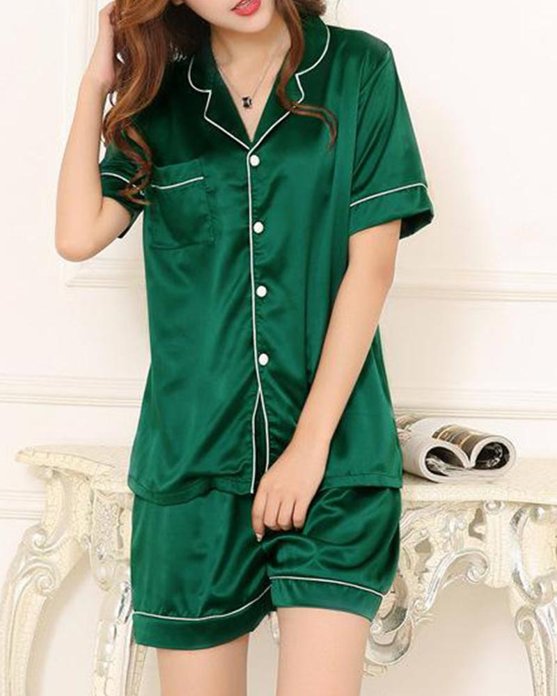 Satin Shirt & Shorts Pajama Set фото