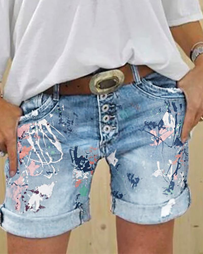 Print Buttoned Pockets Denim Shorts фото