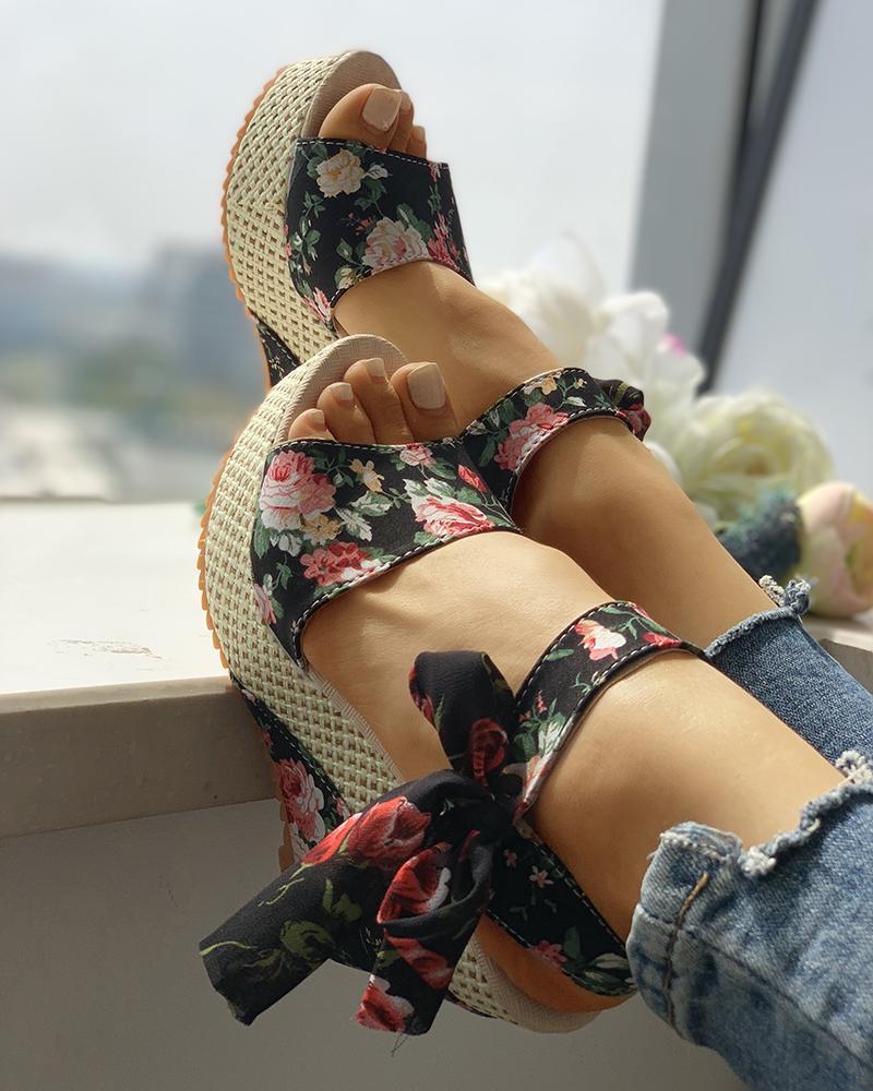 Bowknot Design Platform Espadrille Wedge Sandals фото