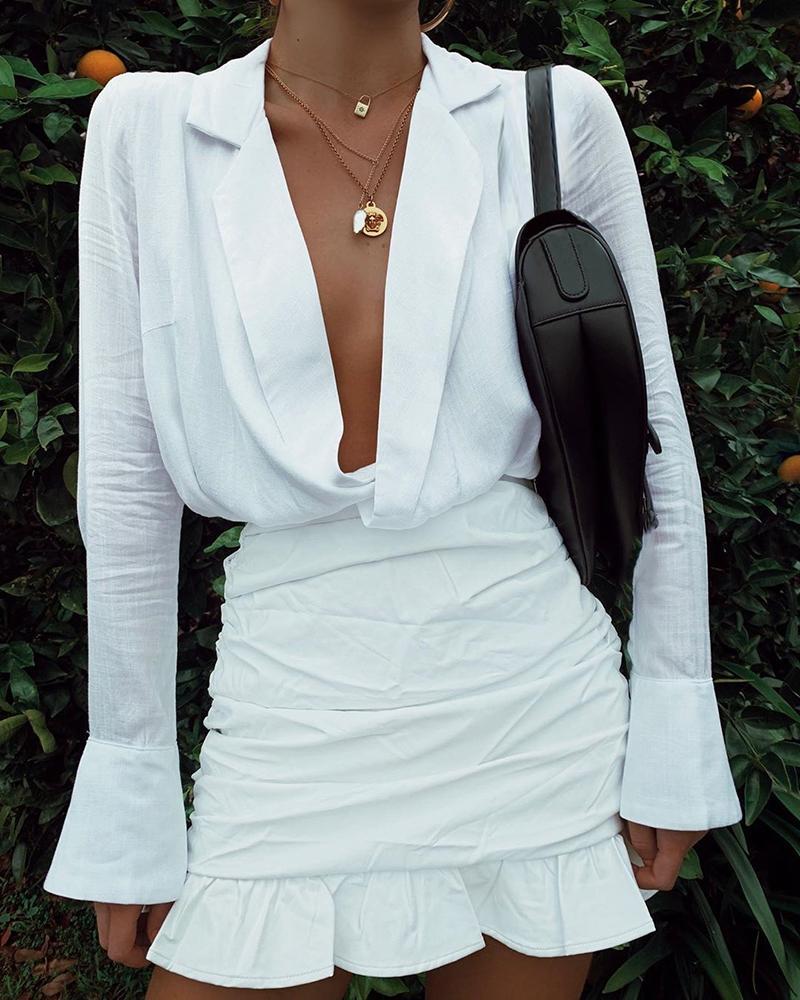 chicme / Mergulhar Ruched Ruffles Cuff Mini Dress