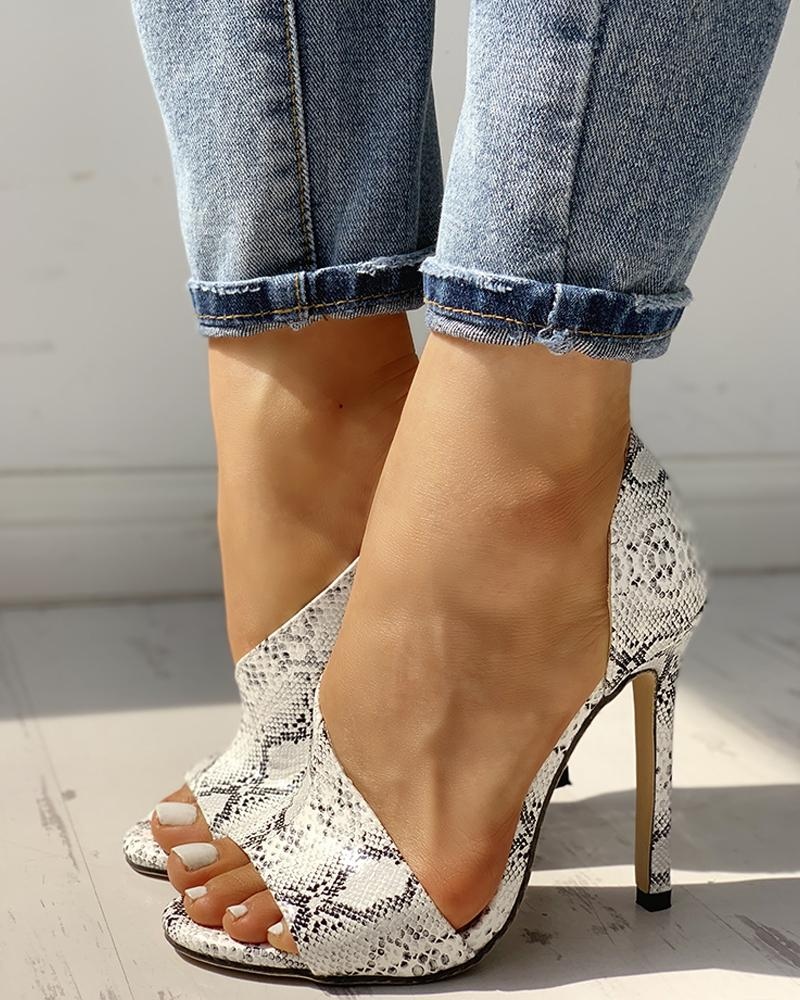 joyshoetique / Snakeskin Peep Toe Cutout Thin Heels