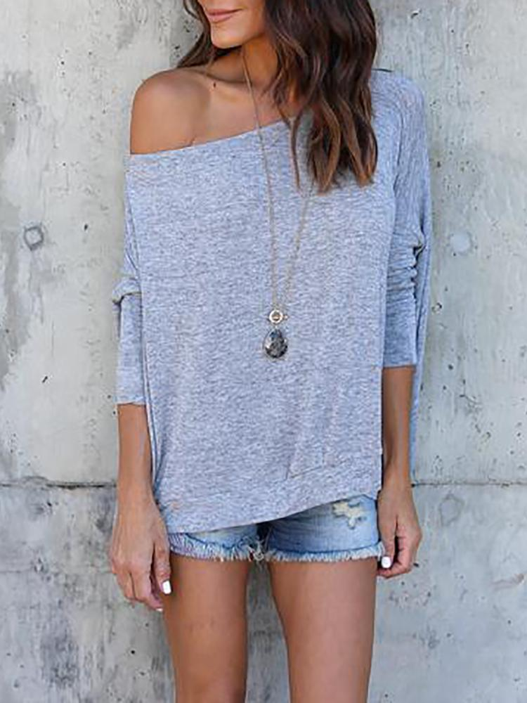 Asymmetric Solid Skew Neck Casual Blouse