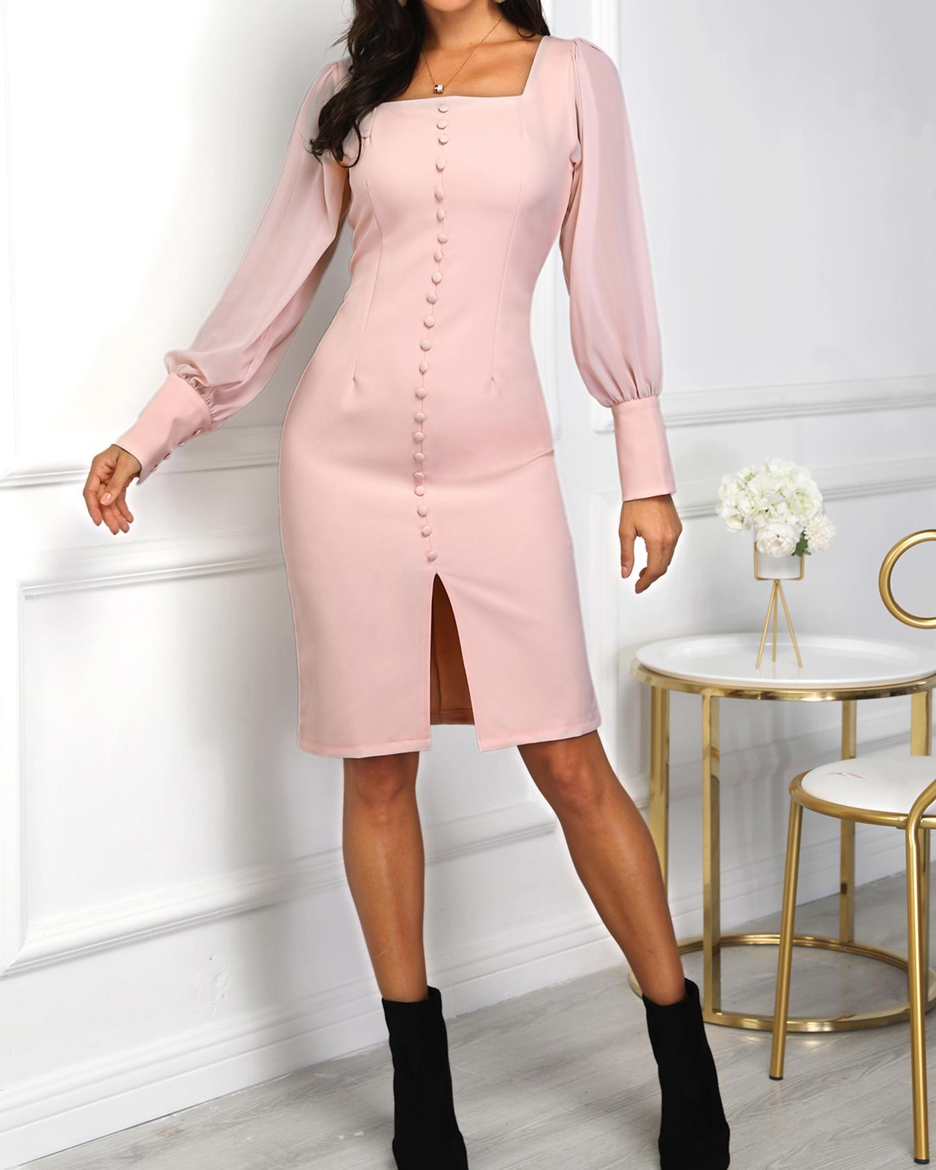 boutiquefeel / Vestido con abertura de manga de obispo de un solo pecho