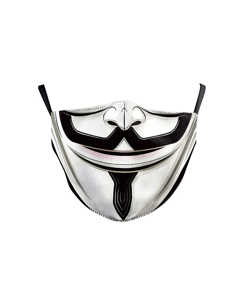 Mouth Skull Print Colorblock Breathable Face Mask фото