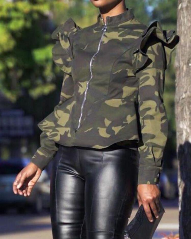 Camo Frill Detail Zipper Design Jacket