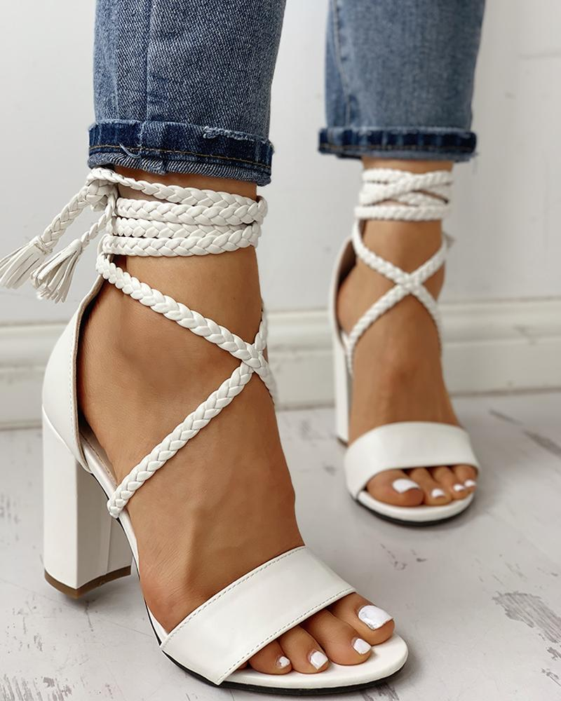 ivrose / Open Toe Braided Strap Chunky Heeled Sandals