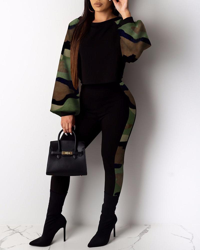 boutiquefeel / Conjuntos de top y pantalones con estampado de camuflaje