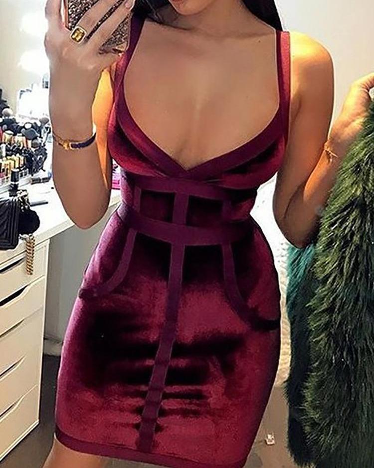 Velvet Deep V-Neck Thin Strap Bandage Dress фото