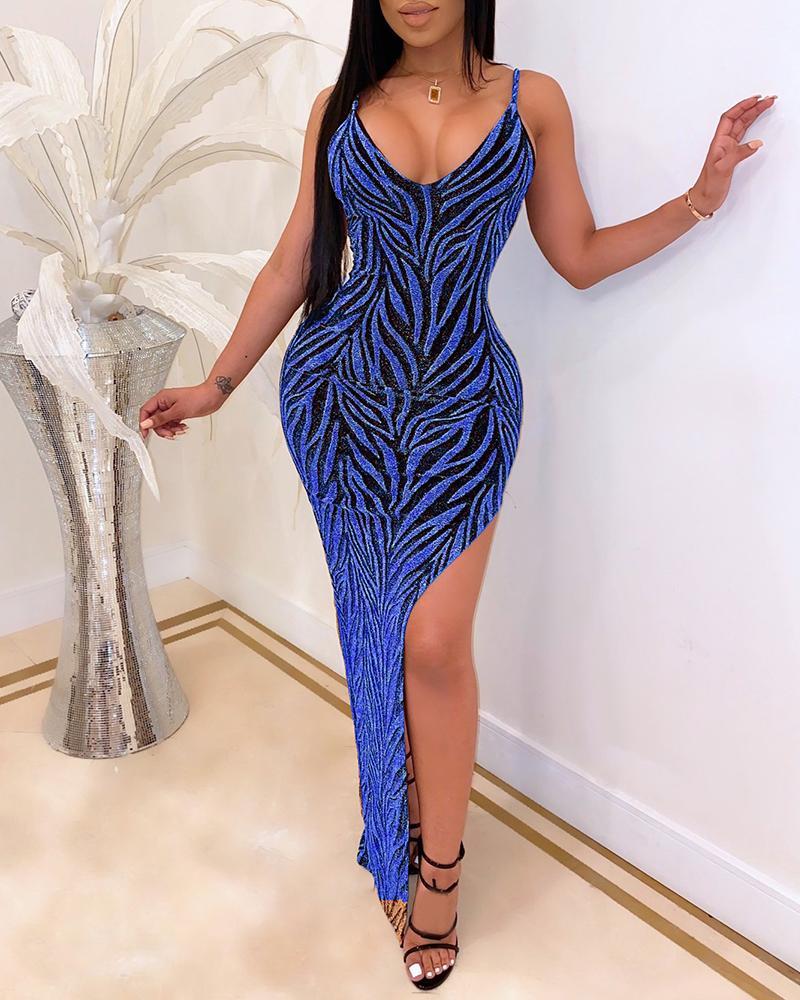 ivrose / Vestido de corte alto con correa de espagueti con purpurina
