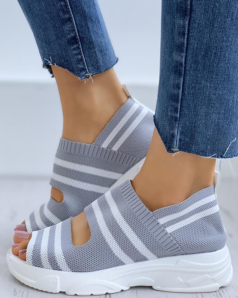 boutiquefeel / Listrado Colorblock Peep Toe Wedge sandálias de salto