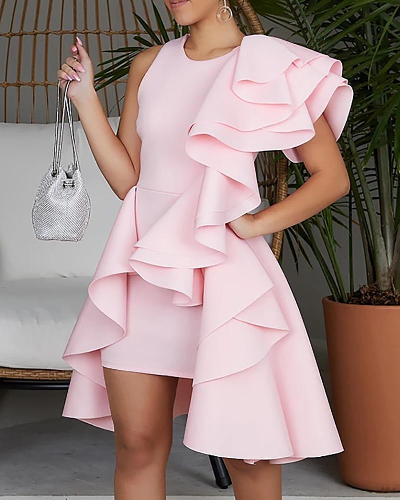 joyshoetique / Solid Irregular Layered Ruffles Party Dress