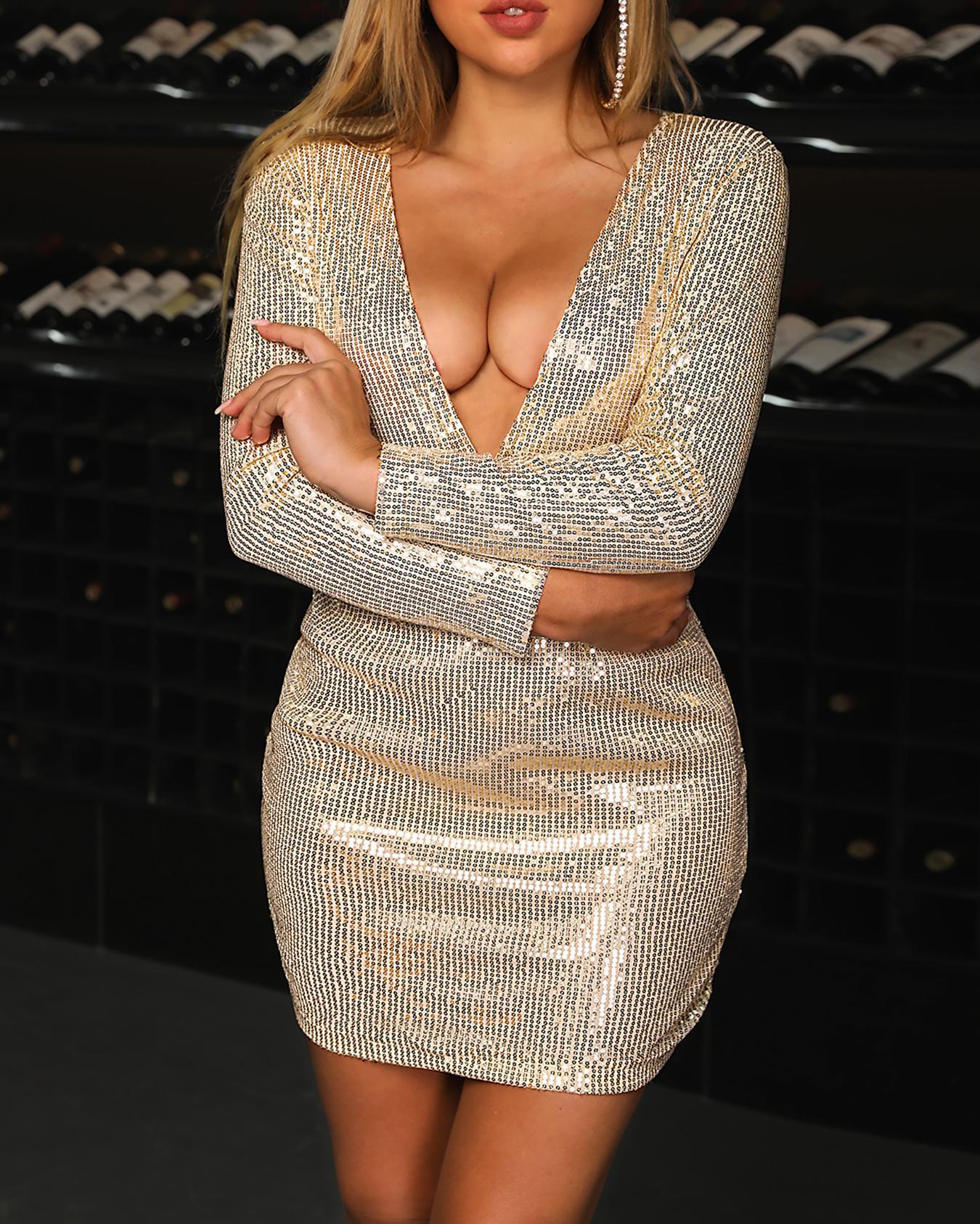 Deep V-Neck Long Sleeve Sequin Party Dress