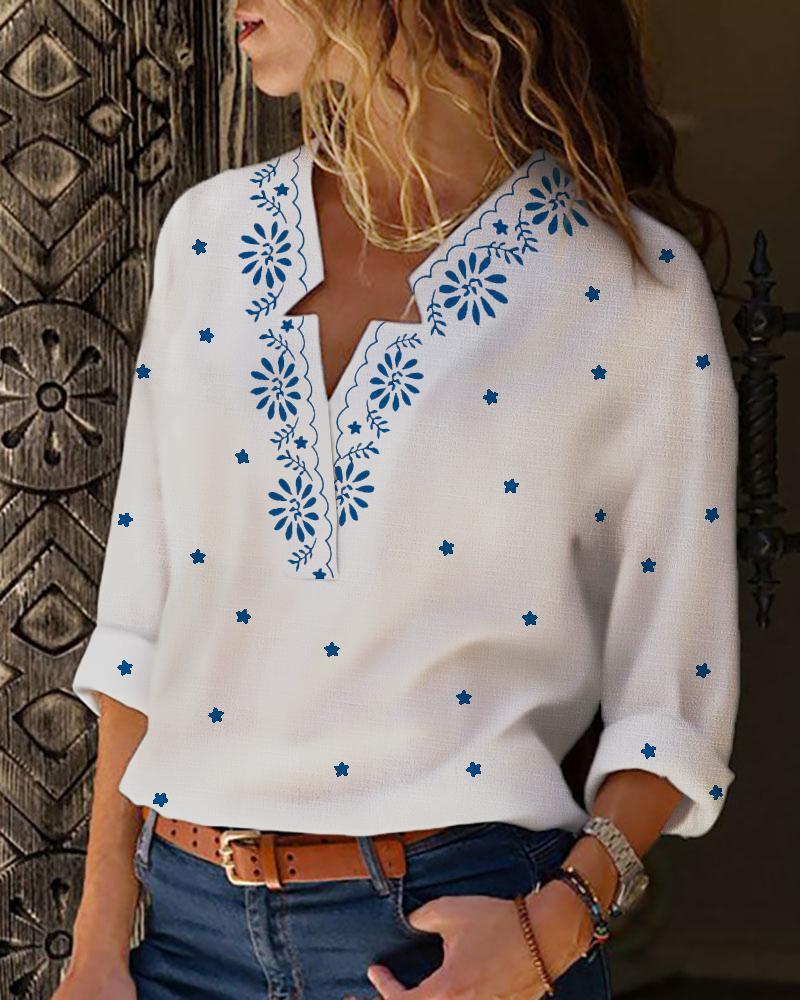chicme / Blusa de manga comprida com estampa floral com decote em v