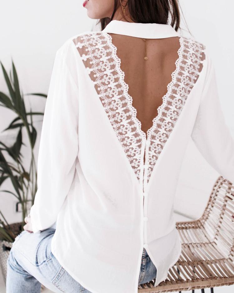 Lace Hollow Out Open Back Casual Shirt