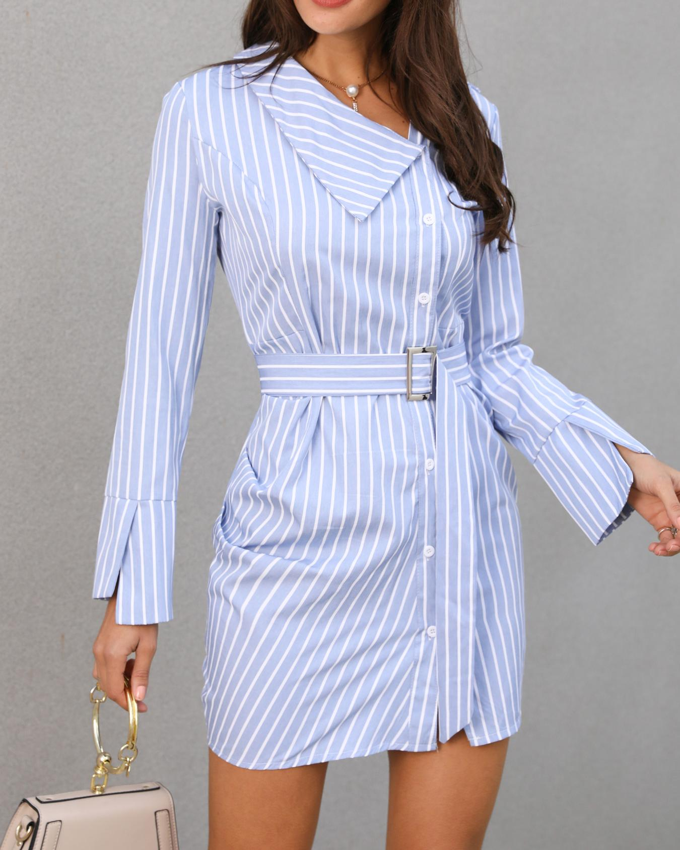 Pinstripes Ruched Irregular Belted Shirt Dress