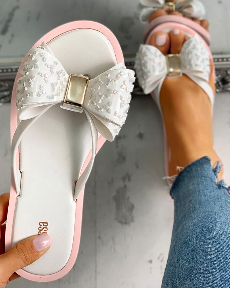 Bowknot Design Flat Slipper Sandals, White