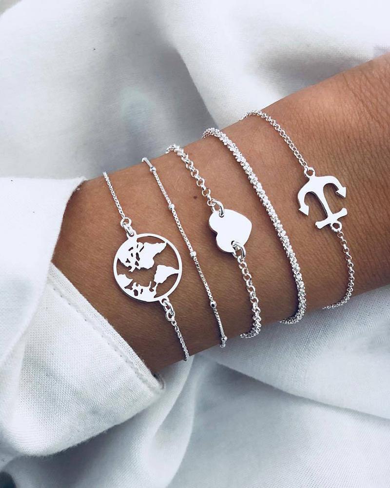 Heart & Boat Anchor Pattern Layered Bracelets фото