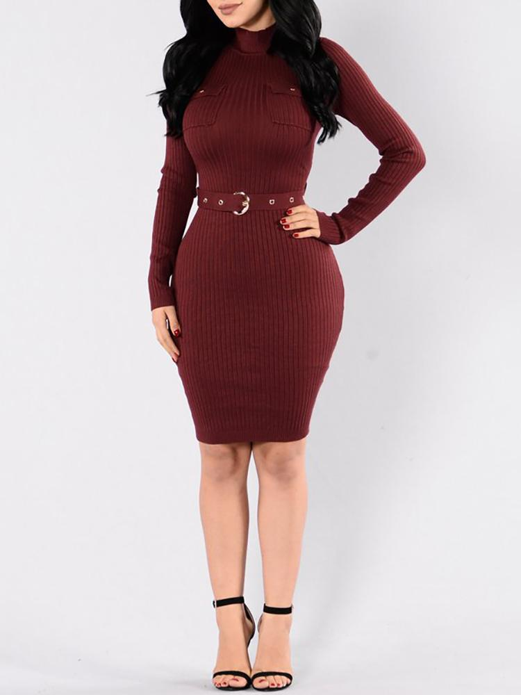 Sexy Long Sleeve Belted Rib Bodycon Dress