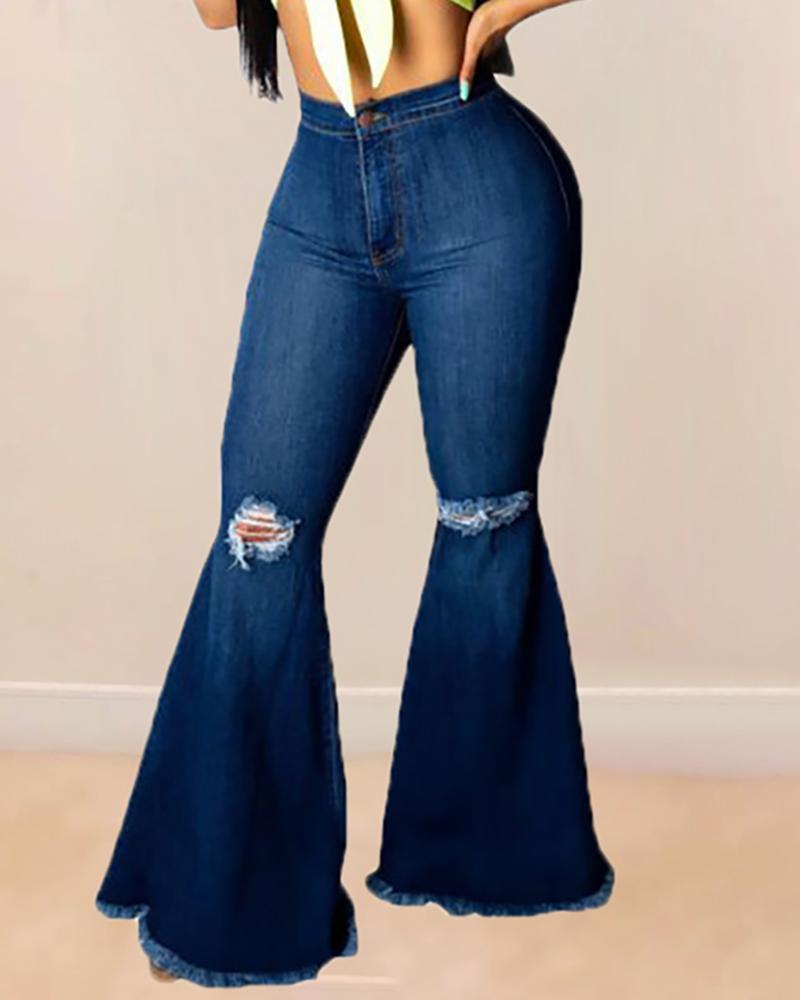 chicme / Pantalones de mezclilla desgarrados y rasgados con cintura alta y campana