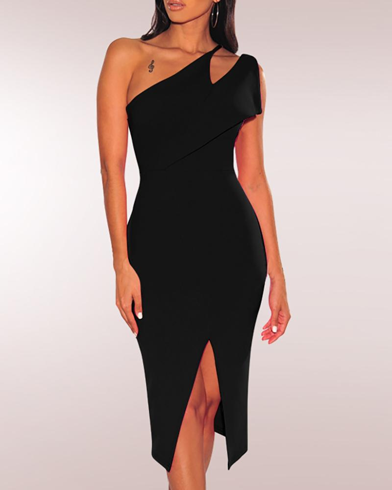 One Shoulder Slit Bodycon Dress, Black
