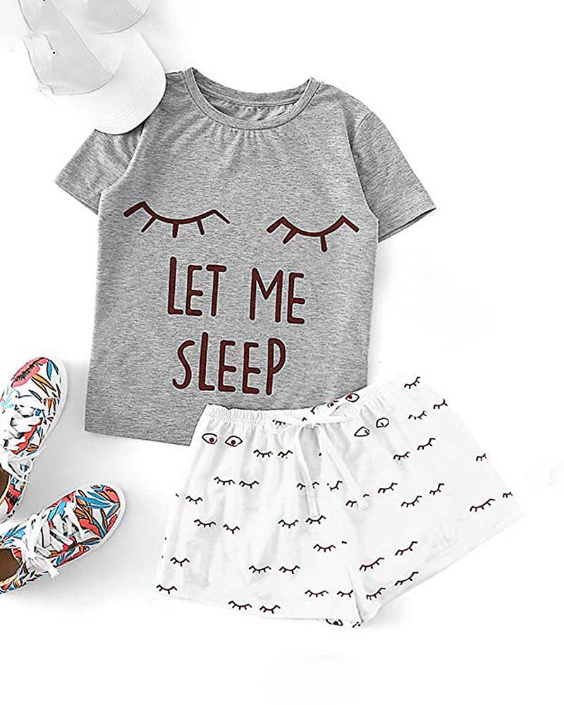 Print Short Sleeve Round Neck Pajamas Set фото