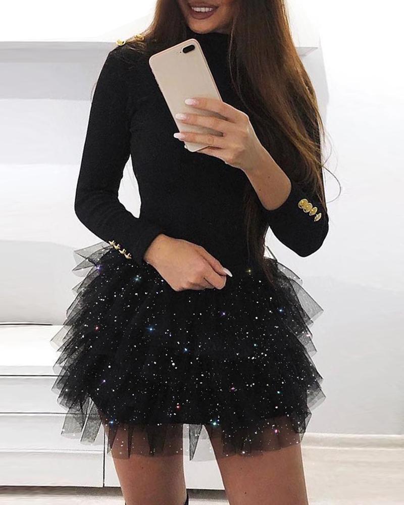 boutiquefeel / Vestido de malla en capas con purpurina de manga larga
