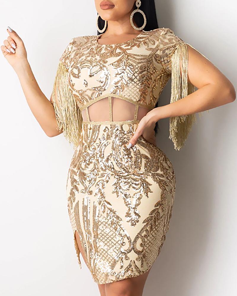 chicme / Vestido de lentejuelas con bordados florales con borlas
