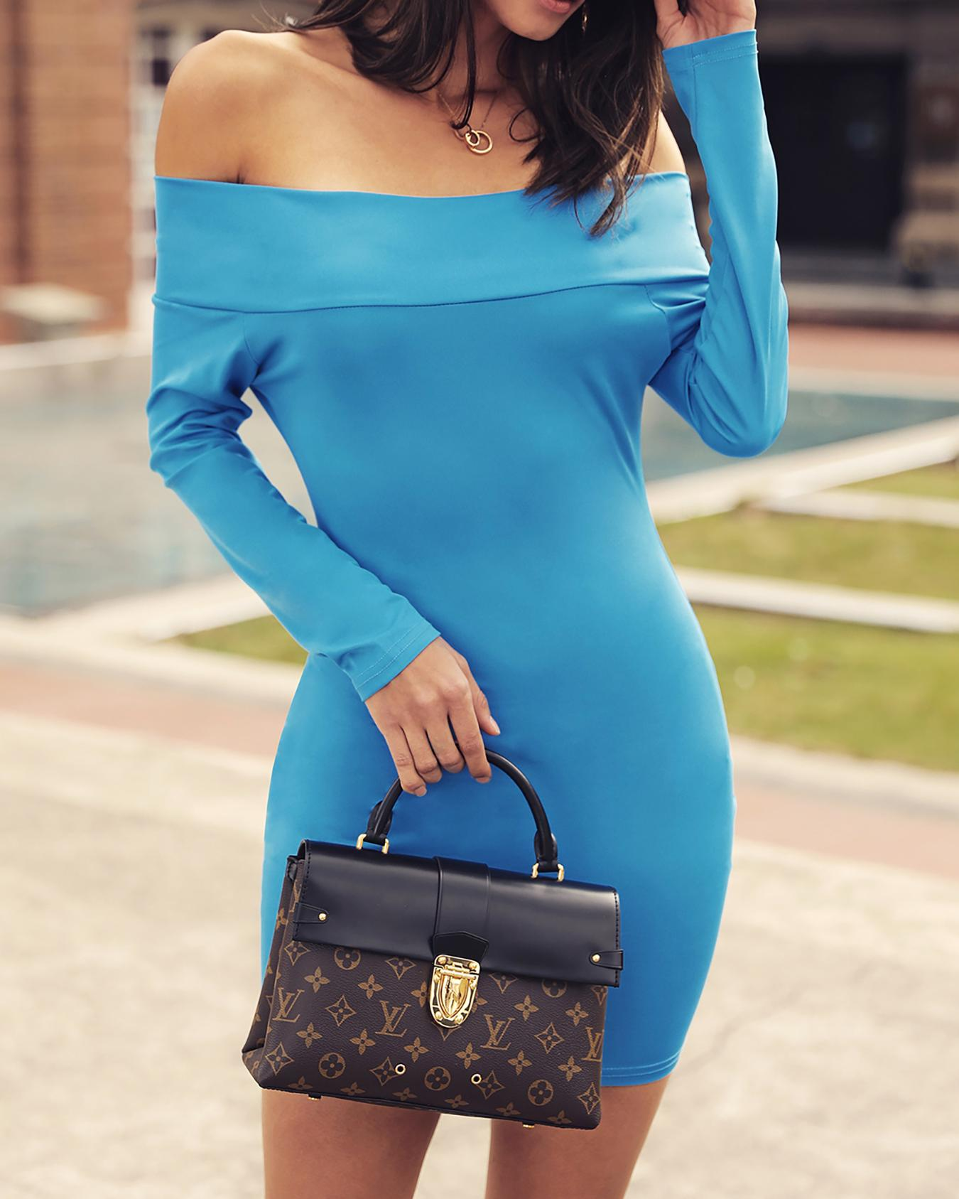 Solid Off Shoulder Long Sleeve Bodycon Dress фото