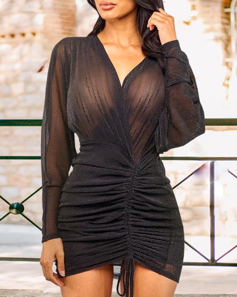 Mesh Drawstring Design See Through Ruched Dress, Black