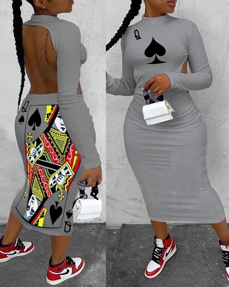 Poker Print Backless Long Sleeve Dress фото