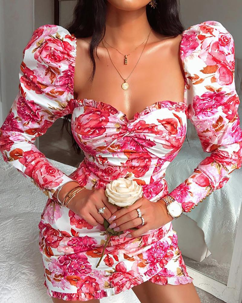 Floral Print Puffed Sleeve Ruched Dress фото