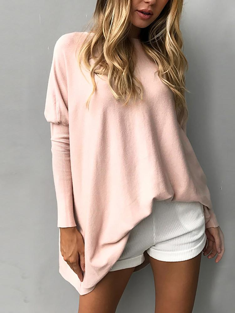 Trendy Solid Long Sleeve Casual Top