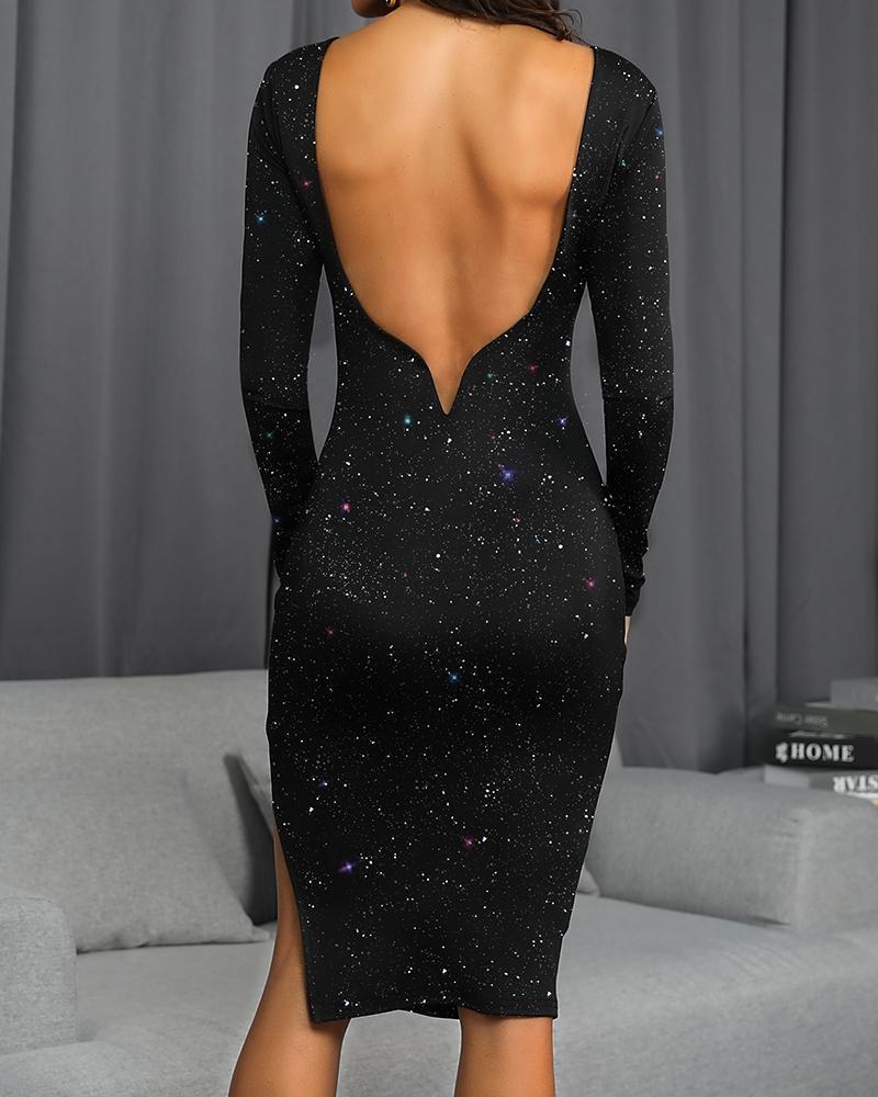 Glitter Open Back Sleeve Bodycon Dress фото