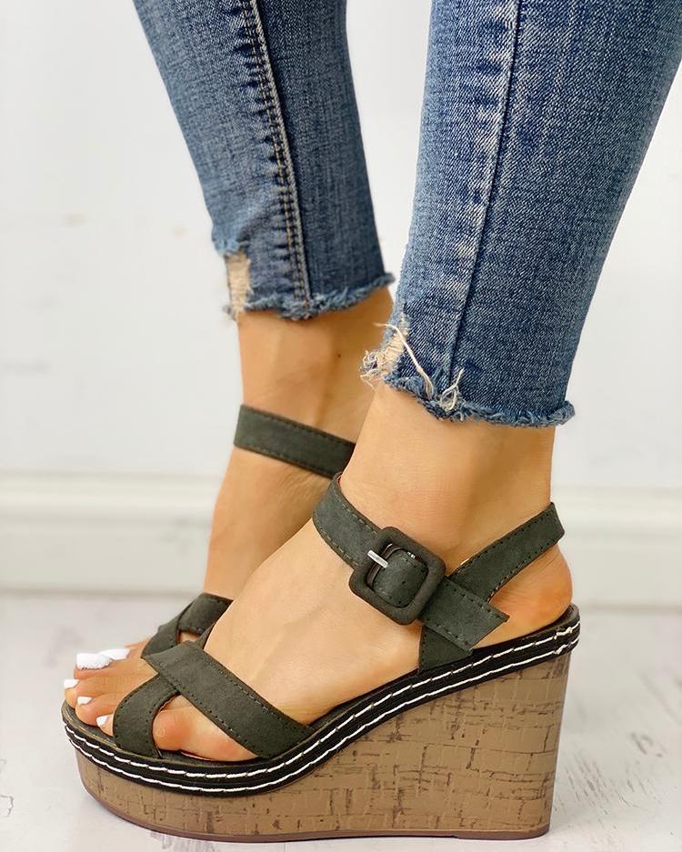 Suede Crisscross Design Wedge Sandals фото