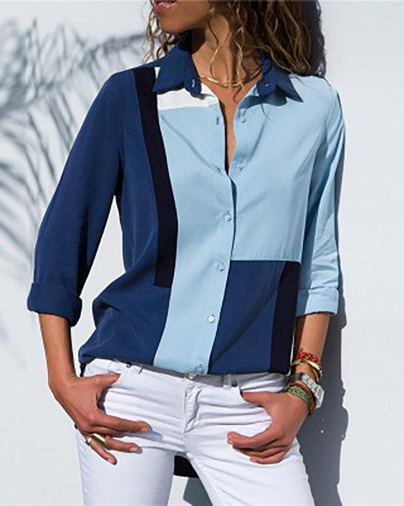 Contrast Color Long Sleeve Casual Shirt фото