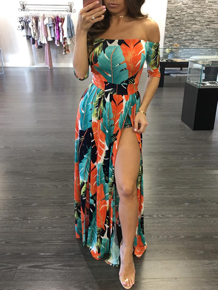High Slit Off Shoulder Print Maxi Romper Dress