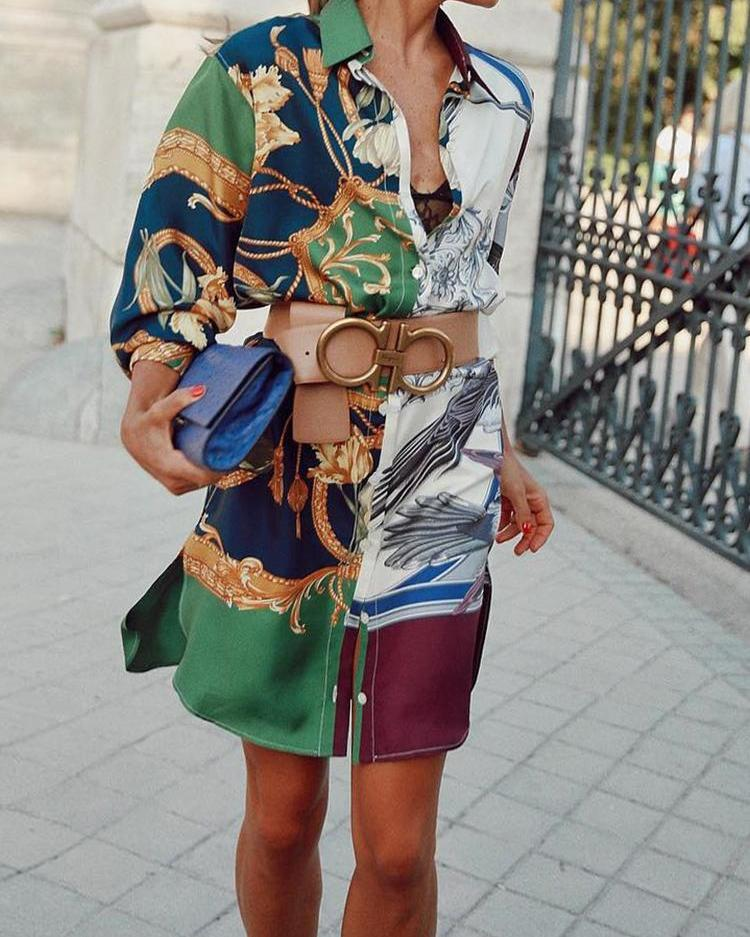 Colorful Print Side Slit Side Casual Shirt Dress, Multicolor