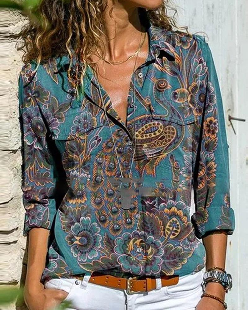 chicme / Peacock Print Long Sleeve Button-up Blouse