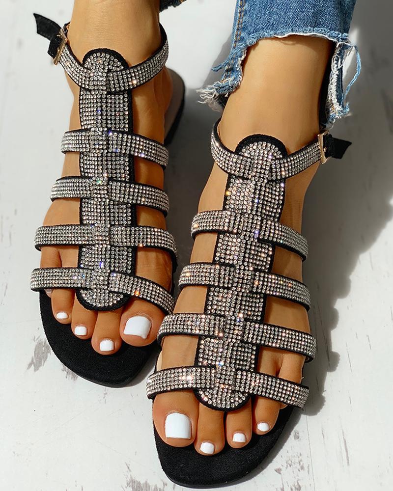 ivrose / Studded Multi-Strap Ankle-buckled Flat Sandals