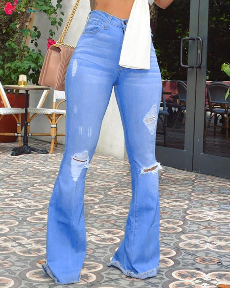 High Waist Ripped Bell-Bottom Jeans фото