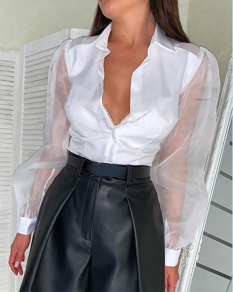 ivrose / Blusa de malla de manga larga con botones