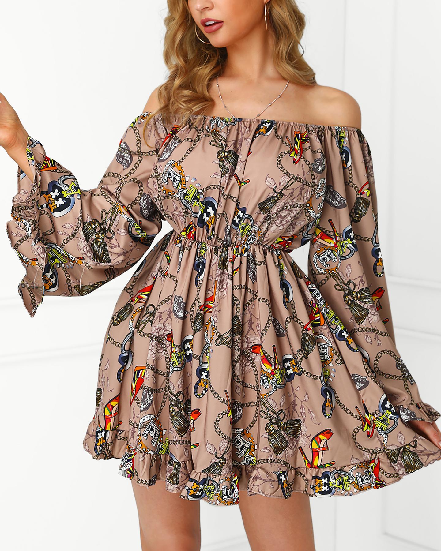 Off Shoulder Scarf Print Tight Waist Dress фото
