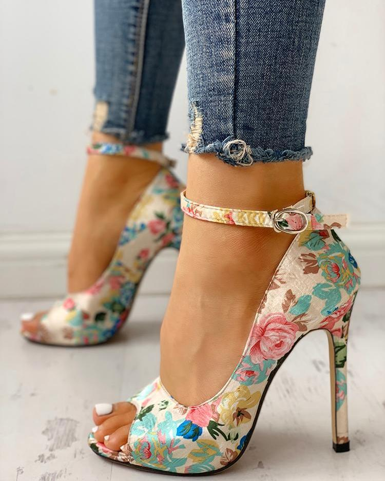 Floral Peep Toe Ankle Strap Heeled Sandals фото