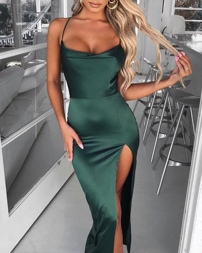 joyshoetique / Spaghetti Strap Backless High Slit Dress