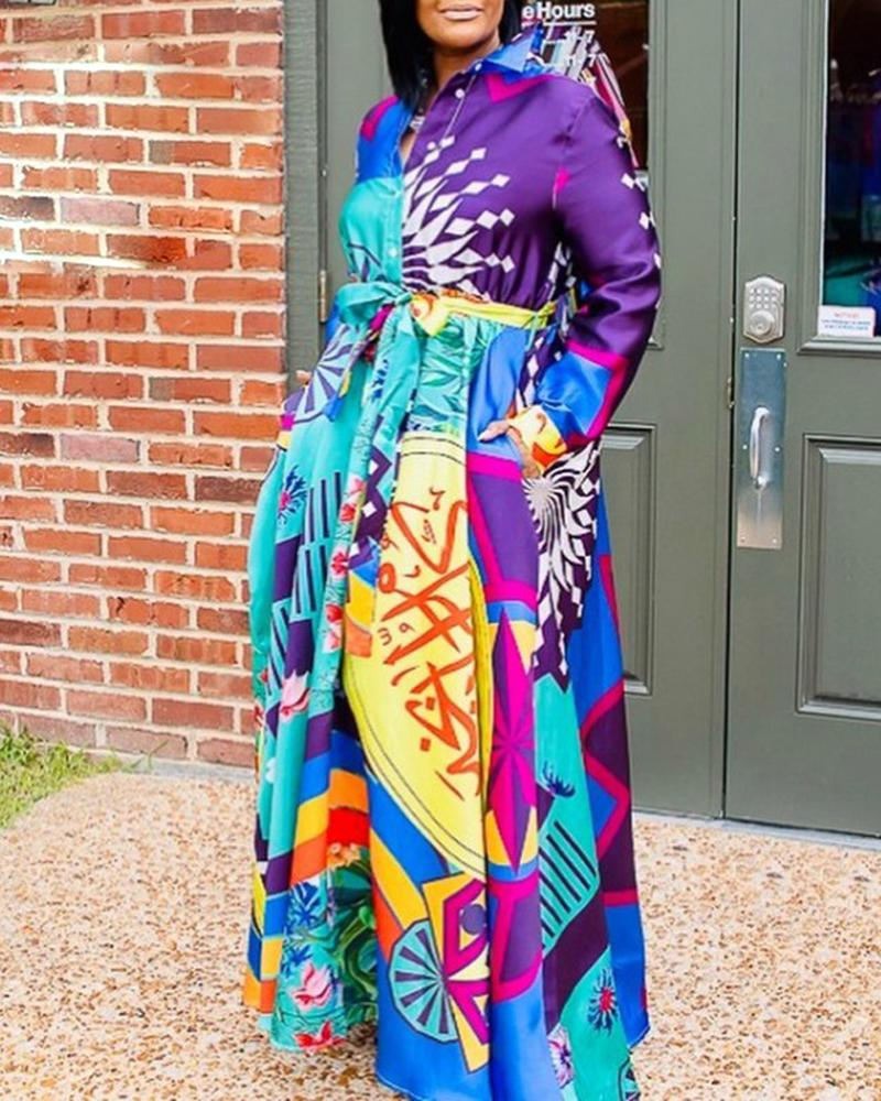 ivrose / Turn-down Collar Impressão abstrata Colorblock Buttoned Dress