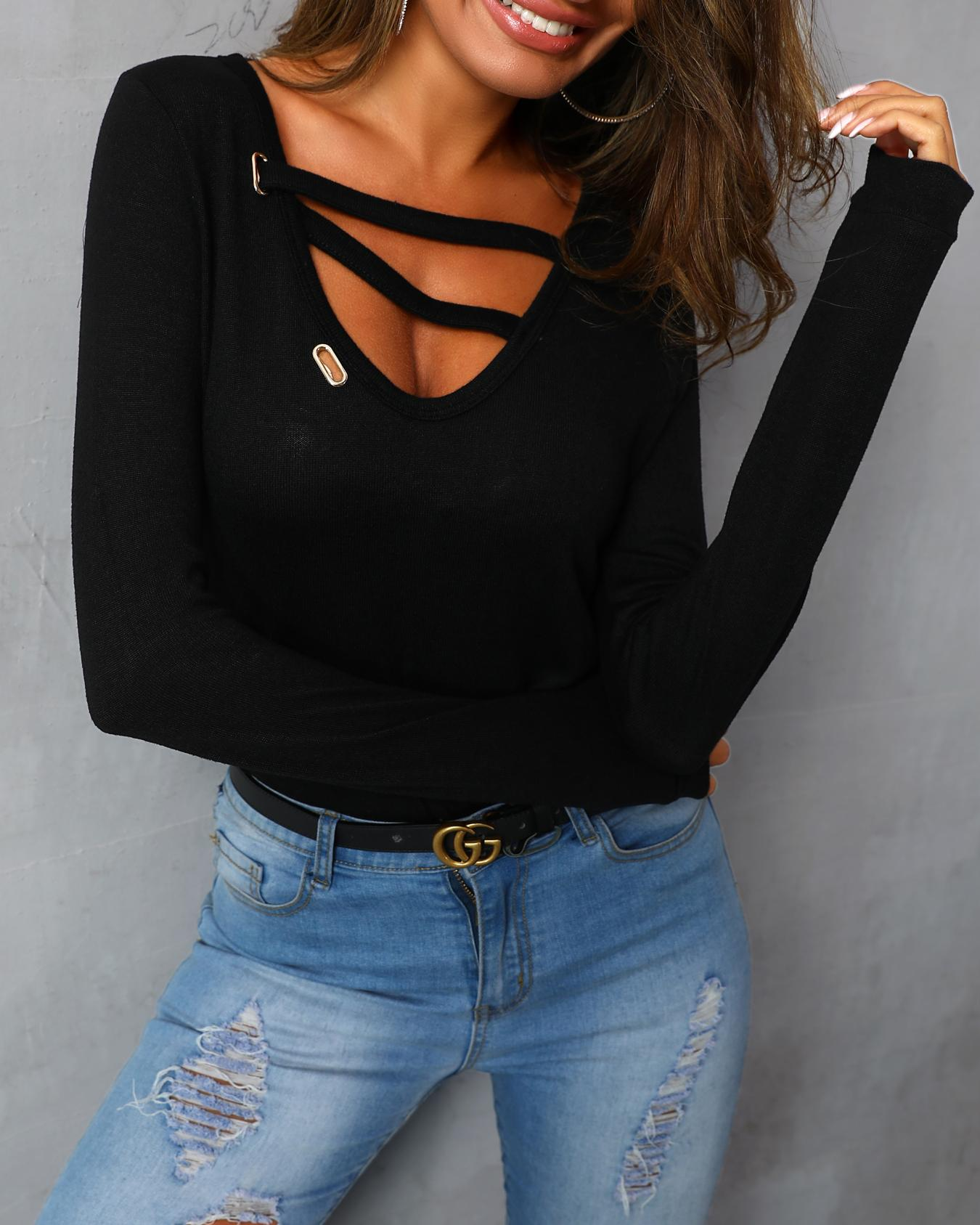 Long Sleeve Cut Out Casual T-shirt