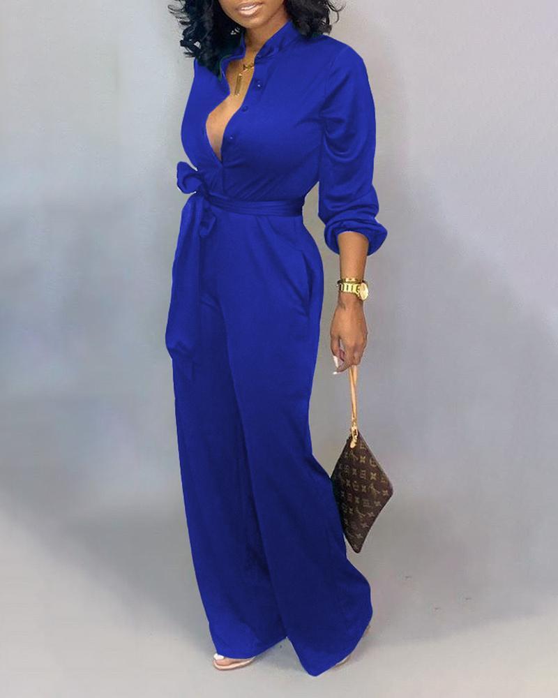 Button Up Self Belted Pocket Jumpsuit, Blue