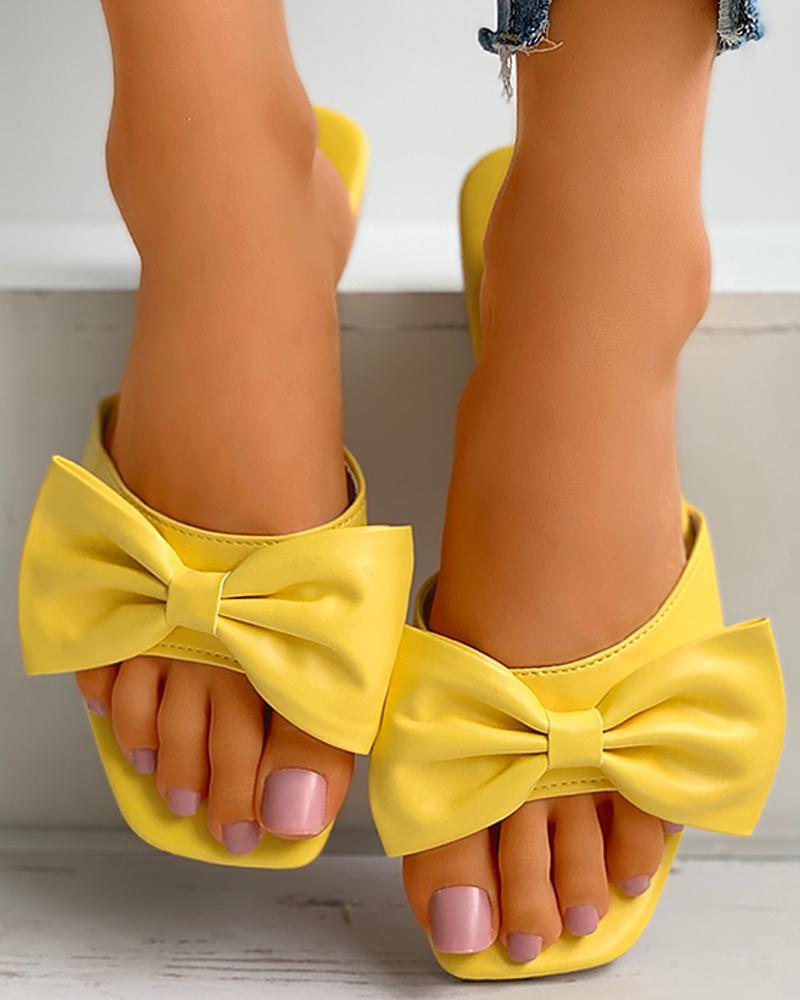 Square Toe Bowknot Decor Heeled Sandals фото